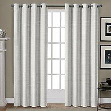 Exclusive Home Vorhänge Tülle Top Fenster Vorhang Panel Paar, Polyester, Weiß Gold, 96x 54x 0,2cm
