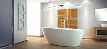 EXCLUSIVE LINE® Freistehende Badewanne GOYA 160x70 cm mit Armatur Ovale Standbadewanne Mineralguss weiß