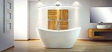 EXCLUSIVE LINE® Freistehende Badewanne VIYA 160x70 cm mit Armatur Ovale Standbadewanne Mineralguss weiß