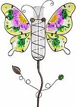 Exhart Regenmesser Gartenstecker Pink Butterfly