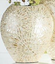 Exklusive Dekovase Blumenvase Tischvase mit Muscheldekor, natur gold, 16x35x43 cm