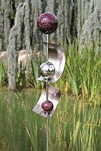 Exklusive Gartenstange Gartendeko Gartenskulptur Bows aus Edelstahl mit 4 Kugeln und 2 Bögen Höhe 160 cm