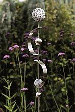 Exklusive Gartenstange Gartendeko Gartenskulptur Curl aus Edelstahl mit 4 Kugeln und 2 Bögen Höhe 80 cm