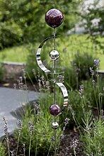 Exklusive Gartenstange Gartenfigur Bows aus Edelstahl mit 4 Kugeln und 2 Bögen Höhe 80 cm