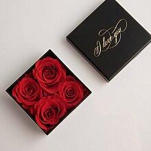 Exklusive Geschenkdose mit 4 kleinen ewigen Rosen konserviert Rosenbox ❤️ I LOVE YOU Geschenk für Frauen / Liebeserklärung / Liebesbeweis / Geschenk für Freundin / Liebesbotschaft / für Verliebte / Verlobung / Blumenversand / Blumen Lieferservice ROSEMARIE SCHULZ® | 6 x 6 x 2 cm | (4 Rosen, Rot)