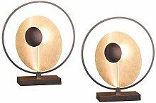 Exklusive LED Tischleuchte im 2er Set Antik-Braun