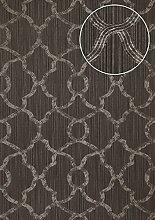 Exklusive Luxus Tapete Atlas PRI-755-3 Vliestapete strukturiert mit Ornamenten schimmernd grau silber umbra-grau 5,33 m2