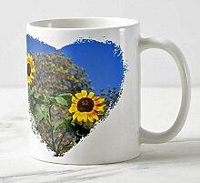Exklusiver Design Foto Art Becher - Motiv: Die zwei Sonnenblumen - Geschenk / Presen