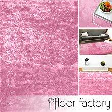 Exklusiver Hochflor Shaggy Teppich Satin rosa 160x230 cm - edler, seidig glänzender Teppich