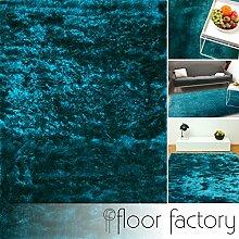 Exklusiver Hochflor Shaggy Teppich Satin türkis/blau 200x290 cm - edler, seidig glänzender Teppich
