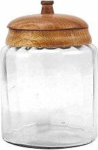 Exner 224076 Dekodose Glas/Holz 13x13x19cm (1