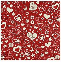 Exnundod Stoffservietten mit roten Herzen, 20 x 20