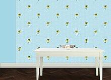 Exotische, blau ornamentale Tapete mit großen Blumen im chinesischem Stil - Vlies Tapete Ornamente Blumen - Klassische Wanddeko - GMM Design Tapete - Wandtapete - Wand Dekoration für edle Wohnakzente (Höhe 3m Breite 46,5cm)