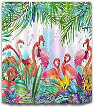 Exotische tropische Pflanze,Bananenblatt,Flamingo,Gelb,Rot,Grün_Wasserfest Anti Schimmel Polyester Stoff Duschvorhang mit Haken,180x180 CM