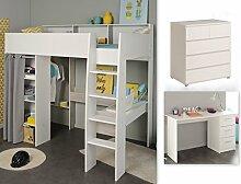 expendio Jugendzimmer Tomke 16 weiß 205x193x132 cm Hochbett mit Schreibtisch Bett Schreibtisch Kommode