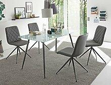 expendio Tischgruppe Glastisch Karin sandgestrahlt