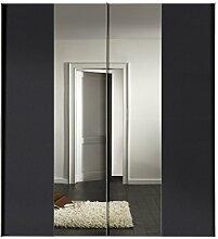 Express Möbel Kleiderschrank 200 cm mit Spiegel, 2-türig Korpus und Front Graphit Nachbildung, BxHxT 200x216x68 cm, Art Nr. 04660-969