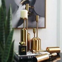 Exquisite Moderne Goldene Metall Kerzenhalter 6