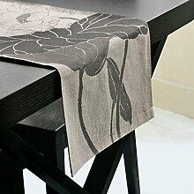 Exquisite table flag/tee tischläufer/neue chinesische,baumwoll-lepra,white lotus table-flag-A 32x220cm(13x87inch)