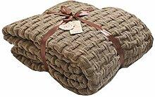 EXQULEG 100% Baumwolle Strickdecke,Kuscheldecke120