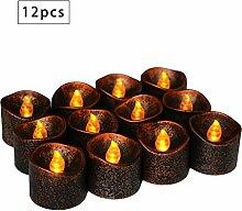 EXQULEG 12 Stücke Flimmern Gelb, Schwarz Kerzen