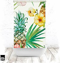 EXTARTIQE Duschrollo Ananas Blüten Duschvorhang