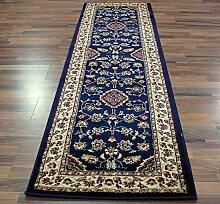 Extra große Classic Orient Perser-Stil Blumen Traditionelle Teppich Läufer/Matte, Marineblau–67x 300cm