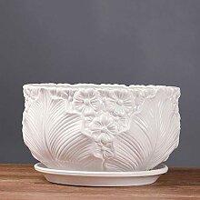 Extra große weiße Weitmund Keramik Blumentopf