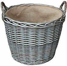 Extra Large Antique Wash-Finish Wicker Gefüttert Log Baskets