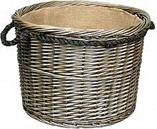 Extra Large Antique Wash Runde Seil Handled Log Wicker Korb