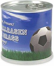 Extragoods Fußballrasen aus der Dose | Rasen aus der Dose als Mitbringsel - Dosenblume als schöne Sommer- und Frühlings-Dekoration für die Wohnung oder Geschenk zum Einzug.