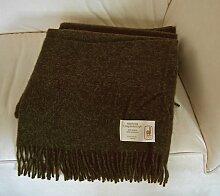 Extralange dunkelbraune Wolldecke aus 50% Alpaka und 50% Schurwolle, ca 240x140cm mit Fransen ca 1100 g