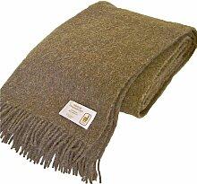 Extralange flauschig weiche hellbraune Wolldecke aus 50% Alpaka und 50% Schurwolle, ca 240x140cm mit Fransen, ca 1100 g