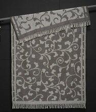 Extralange flauschige creme-graue Alpaka-Wolldecke mit Rankenmuster, ca 240x140cm
