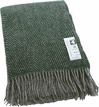 Extralange graue Wolldecke mit grünen Fischgrat-Streifen aus 100% skandinavischer Schurwolle, ca 240x140cm mit Fransen, 1100g