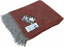 Extralange graue Wolldecke mit roten Fischgrat-Streifen aus 100% skandinavischer Schurwolle, ca 240x140cm mit Fransen, 1100g