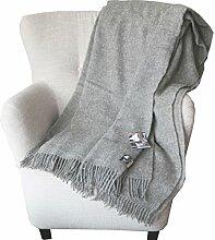 Extralange hellgraue Wolldecke aus 100% naturbelassener skandinavischer Schurwolle, ca 240x140cm mit Fransen, 1100g