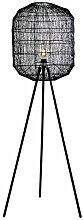 Extravagante Stehleuchte BLACK CAGE schwarz geflochtener Lampenschirm Stehlampe