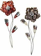 Extravagante Wanddeko Blume aus Metall rot oder