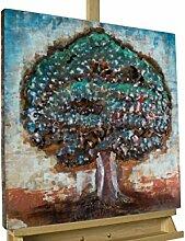 Extravagantes KunstLoft® Metallbild 3D 'Edens Idyll' 60x60x5cm | Design Wanddeko XXL handgefertigt | Unikat Luxus Wandskulptur | Baum Natur Bunt Pflanze | Wandbild Relief modern