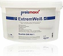 ExtremWeiß, extrem hochwertige Wandfarbe, Premium Qualität, Innenfarbe, weiß, matt, 10 Liter, Deckkraftklasse 1, Nassabriebklasse 1