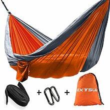 Extsud Outdoor Camping Hängematte Parachute Hängematte aus Nylongewebe Reisen Hängematten Doppel schnell trocknend Hängematte belastbar bis 200 kg 275*140 cm Orange/Grau