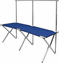 eyepower faltbarer Verkaufsstand mit höhenverstellbarer Kleiderstange Metall Alu Flohmarkt-Tisch ca.205x67cm Blau