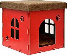 eyepower stabile Katzenhöhle 38x38x38cm Sitzhocker Sitzwürfel inkl Katzenhaus Holz Kuschel Höhle fuer Hunde Katzen Ro