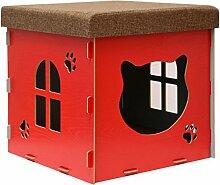 Eyepower stabile Katzenhöhle 41x41x41cm inkl. Kratzbrett Katzenhaus im Sitzhocker Sitzwürfel Holz Kuschel Höhle Ro