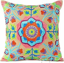 "EYES OF INDIA - 16"""" BROWN EMBROIDERED DECORATIVE SOFA CUSHION PILLOW COVER Indian Bohemian Decor"