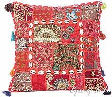 "EYES OF INDIA - 16"""" Rot Patchwork Sofa Kissenbezug Sofa Boho Indische Böhmisch Boho - Rot #12, 16 X 16 in. (40 X 40 cm)"