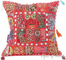 "EYES OF INDIA - 16"""" Rot Patchwork Sofa Kissenbezug Sofa Boho Indische Böhmisch Boho - Rot #39, 16 X 16 in. (40 X 40 cm)"