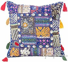 "EYES OF INDIA - 16"""" SMALL BLUE PATCHWORK DECORATIVE SOFA PILLOW COVER CUSHION Bohemian Decor"