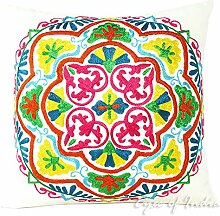 "EYES OF INDIA - 16"""" WHITE DECORATIVE EMBROIDERED SOFA CUSHION PILLOW COVER Indian Bohemian Decor"
